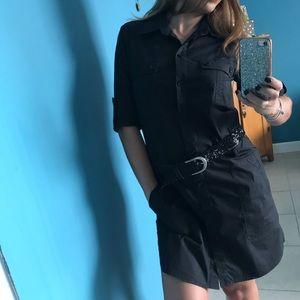 Theory Black Button-down Shirtdress ➖